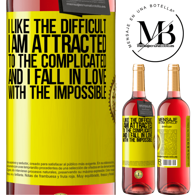 24,95 € Free Shipping   Rosé Wine ROSÉ Edition I like the difficult, I am attracted to the complicated, and I fall in love with the impossible Yellow Label. Customizable label Young wine Harvest 2020 Tempranillo