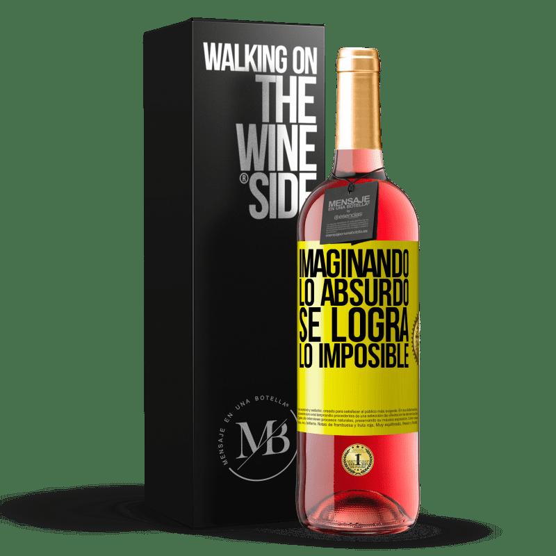 24,95 € Envoi gratuit   Vin rosé Édition ROSÉ Imaginer l'absurde réalise l'impossible Étiquette Jaune. Étiquette personnalisable Vin jeune Récolte 2020 Tempranillo