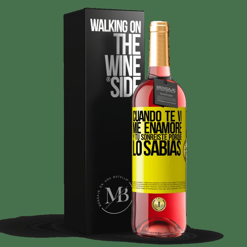24,95 € Envoi gratuit   Vin rosé Édition ROSÉ Quand je t'ai vu, je suis tombé amoureux, et tu as souri parce que tu le savais Étiquette Jaune. Étiquette personnalisable Vin jeune Récolte 2020 Tempranillo
