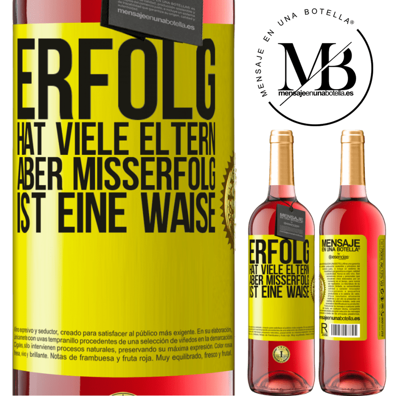 24,95 € Kostenloser Versand | Roséwein ROSÉ Ausgabe Erfolg hat viele Eltern, aber Misserfolg ist eine Waise Gelbes Etikett. Anpassbares Etikett Junger Wein Ernte 2020 Tempranillo