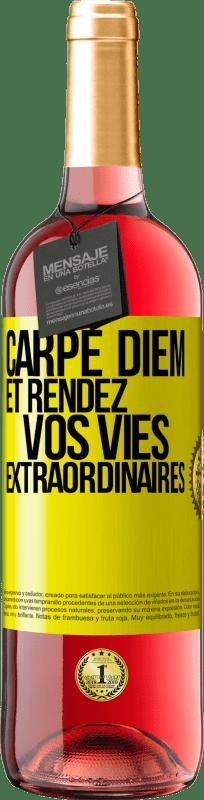 24,95 € Envoi gratuit | Vin rosé Édition ROSÉ Carpe Diem et rendre votre vie extraordinaire Étiquette Jaune. Étiquette personnalisable Vin jeune Récolte 2020 Tempranillo