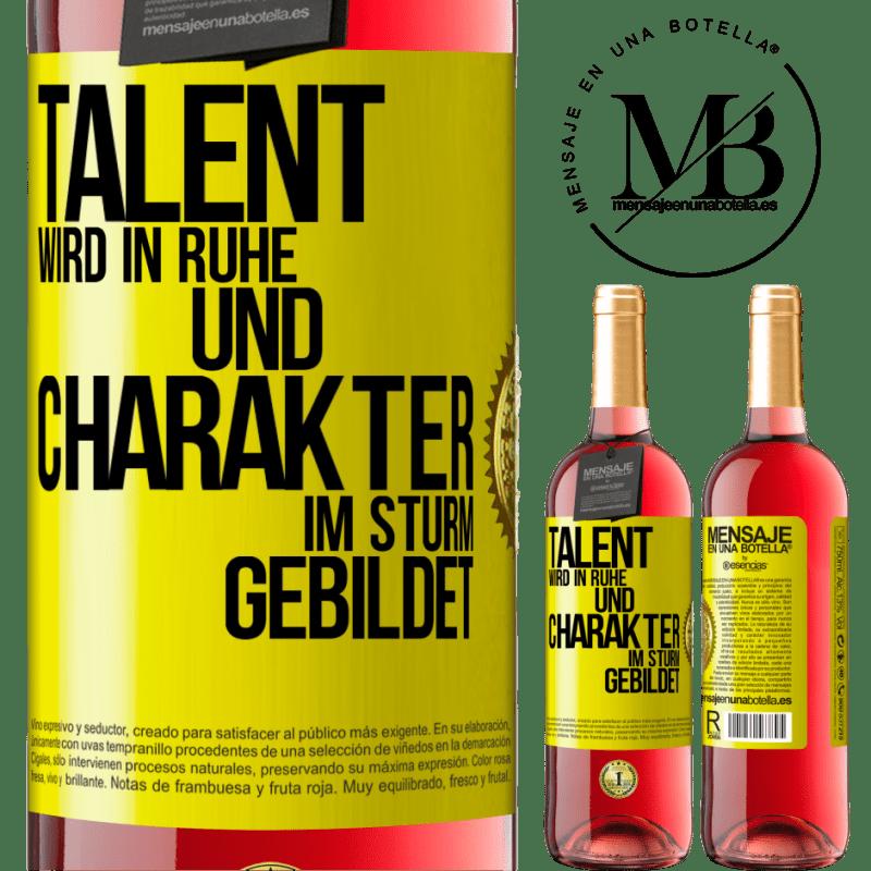 24,95 € Kostenloser Versand | Roséwein ROSÉ Ausgabe Talent wird in Ruhe und Charakter im Sturm erzogen Gelbes Etikett. Anpassbares Etikett Junger Wein Ernte 2020 Tempranillo