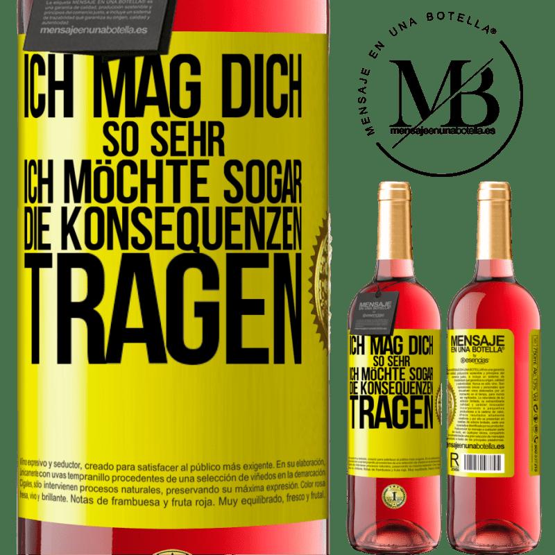 24,95 € Kostenloser Versand | Roséwein ROSÉ Ausgabe Ich möchte, dass Sie die Konsequenzen tragen Gelbes Etikett. Anpassbares Etikett Junger Wein Ernte 2020 Tempranillo