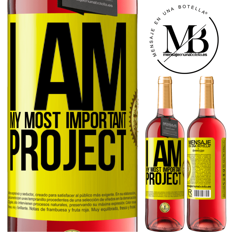 24,95 € Free Shipping   Rosé Wine ROSÉ Edition I am my most important project Yellow Label. Customizable label Young wine Harvest 2020 Tempranillo