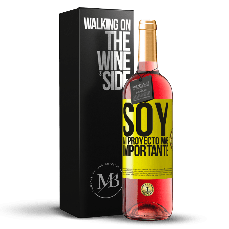 24,95 € Envoi gratuit | Vin rosé Édition ROSÉ Je suis mon projet le plus important Étiquette Jaune. Étiquette personnalisable Vin jeune Récolte 2020 Tempranillo
