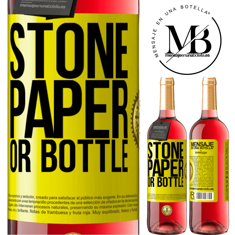 24,95 € Free Shipping | Rosé Wine ROSÉ Edition Stone, paper or bottle Yellow Label. Customizable label Young wine Harvest 2020 Tempranillo