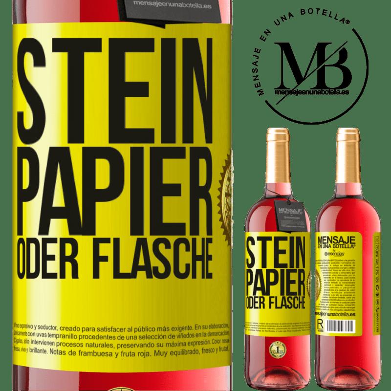 24,95 € Kostenloser Versand | Roséwein ROSÉ Ausgabe Stein, Papier oder Flasche Gelbes Etikett. Anpassbares Etikett Junger Wein Ernte 2020 Tempranillo