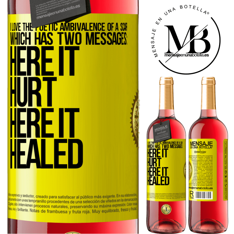 24,95 € Free Shipping | Rosé Wine ROSÉ Edition I love the poetic ambivalence of a scar, which has two messages: here it hurt, here it healed Yellow Label. Customizable label Young wine Harvest 2020 Tempranillo