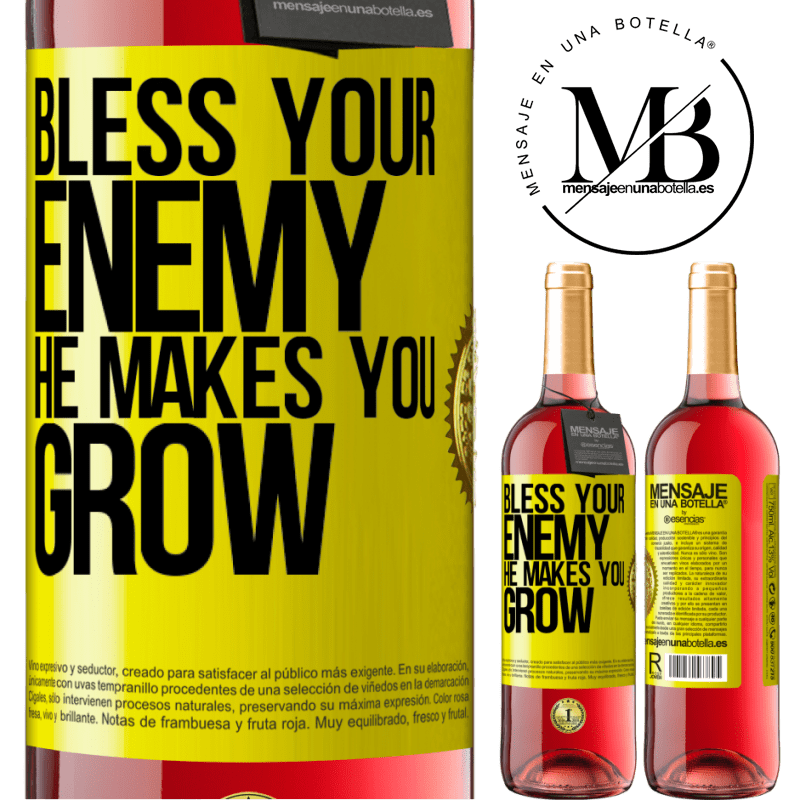 24,95 € Free Shipping   Rosé Wine ROSÉ Edition Bless your enemy. He makes you grow Yellow Label. Customizable label Young wine Harvest 2020 Tempranillo