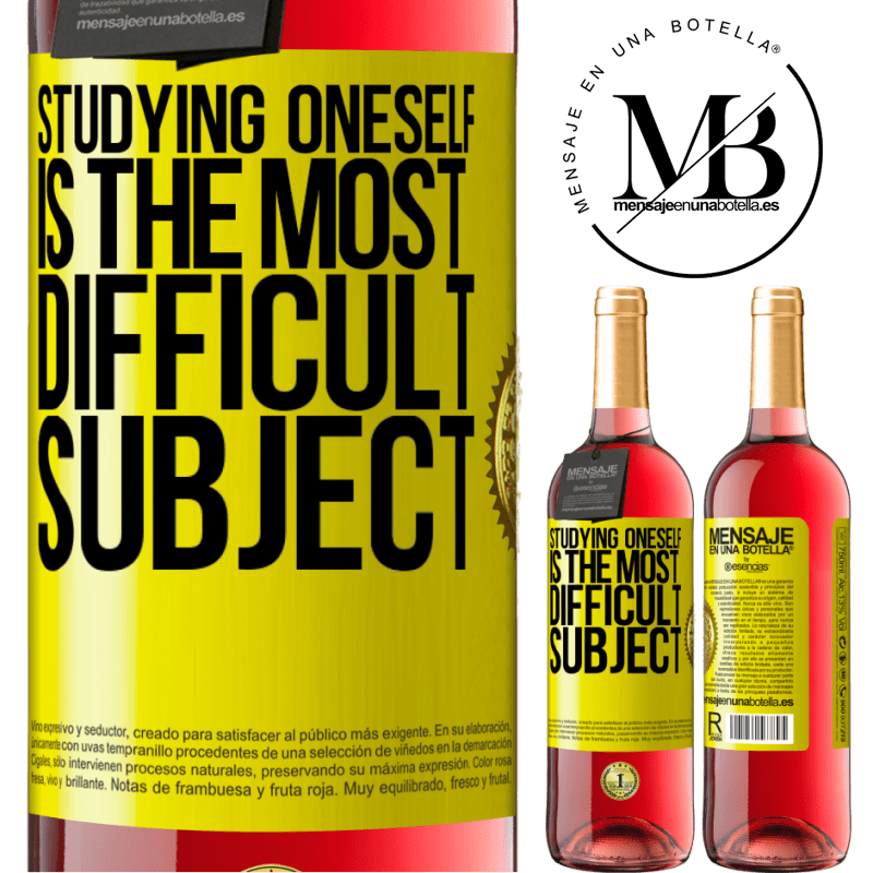 24,95 € Free Shipping | Rosé Wine ROSÉ Edition Studying oneself is the most difficult subject Yellow Label. Customizable label Young wine Harvest 2020 Tempranillo