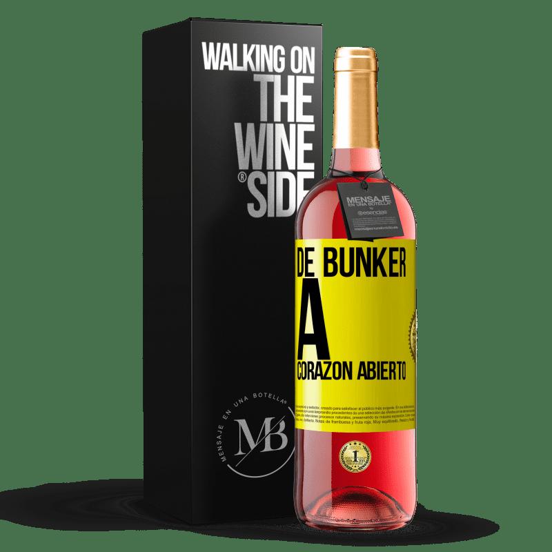24,95 € Envoi gratuit   Vin rosé Édition ROSÉ Du bunker au cœur ouvert Étiquette Jaune. Étiquette personnalisable Vin jeune Récolte 2020 Tempranillo