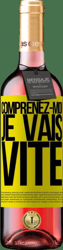 24,95 € Envoi gratuit   Vin rosé Édition ROSÉ Comprenez-moi, je vais vite Étiquette Jaune. Étiquette personnalisable Vin jeune Récolte 2020 Tempranillo