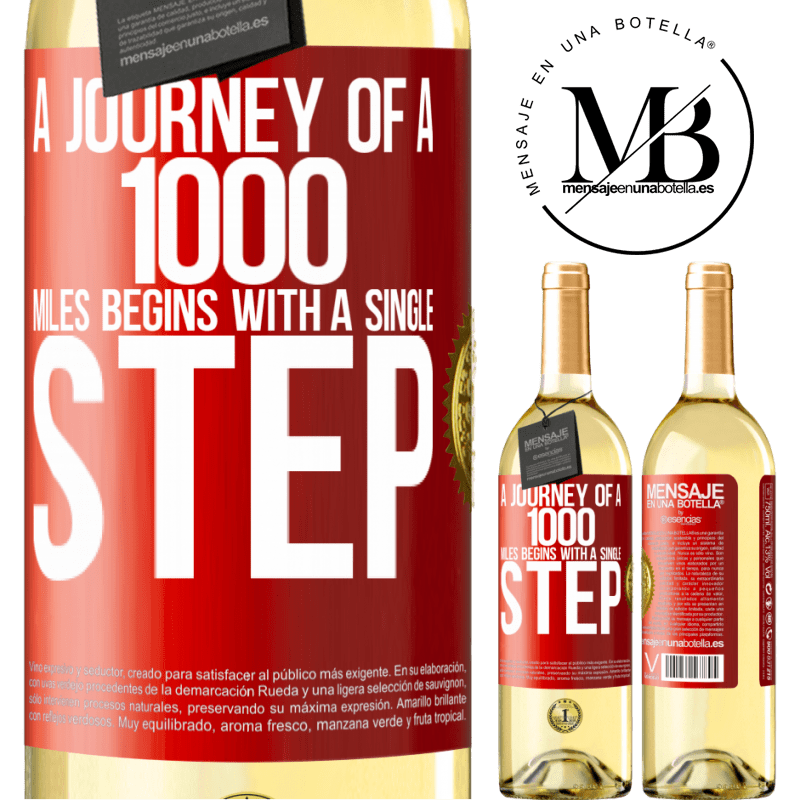 24,95 € Free Shipping   White Wine WHITE Edition A journey of a thousand miles begins with a single step Red Label. Customizable label Young wine Harvest 2020 Verdejo