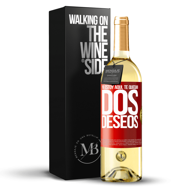 24,95 € Envoi gratuit | Vin blanc Édition WHITE Je suis là. Vous avez deux souhaits Étiquette Rouge. Étiquette personnalisable Vin jeune Récolte 2020 Verdejo