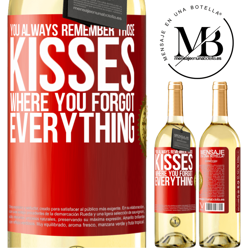 24,95 € Free Shipping | White Wine WHITE Edition You always remember those kisses where you forgot everything Red Label. Customizable label Young wine Harvest 2020 Verdejo