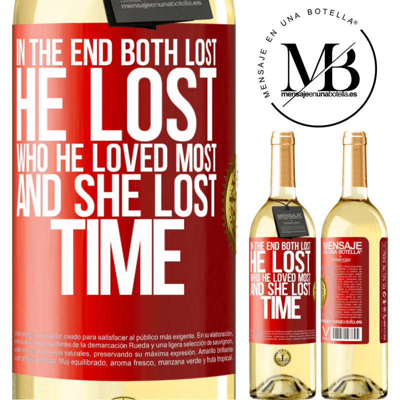 24,95 € Free Shipping | White Wine WHITE Edition In the end, both lost. He lost who he loved most, and she lost time Red Label. Customizable label Young wine Harvest 2020 Verdejo