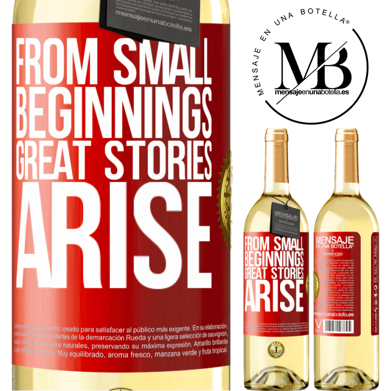 24,95 € Free Shipping | White Wine WHITE Edition From small beginnings great stories arise Red Label. Customizable label Young wine Harvest 2020 Verdejo