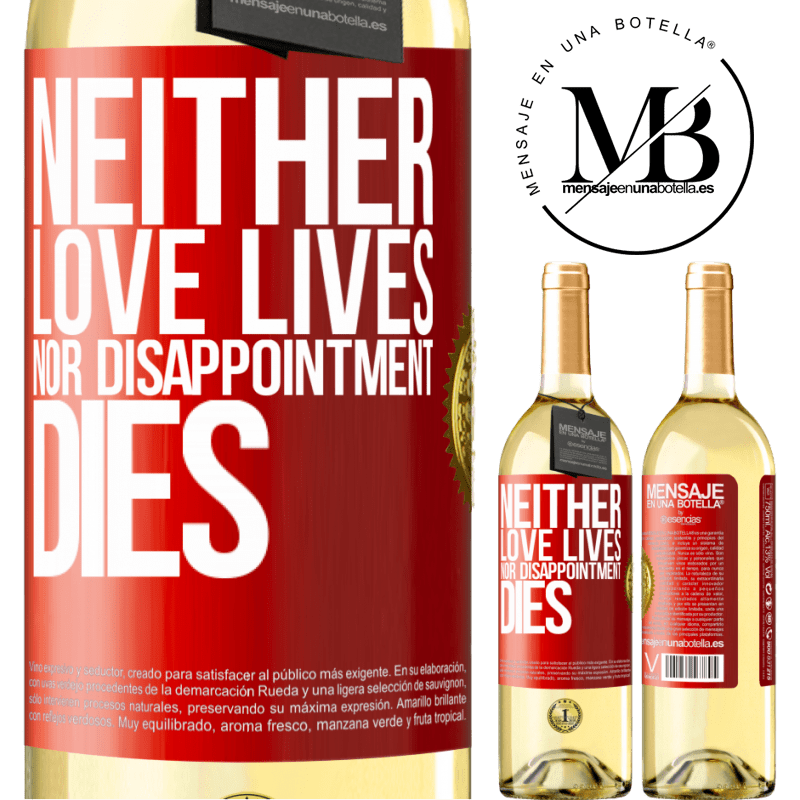 24,95 € Free Shipping | White Wine WHITE Edition Neither love lives, nor disappointment dies Red Label. Customizable label Young wine Harvest 2020 Verdejo