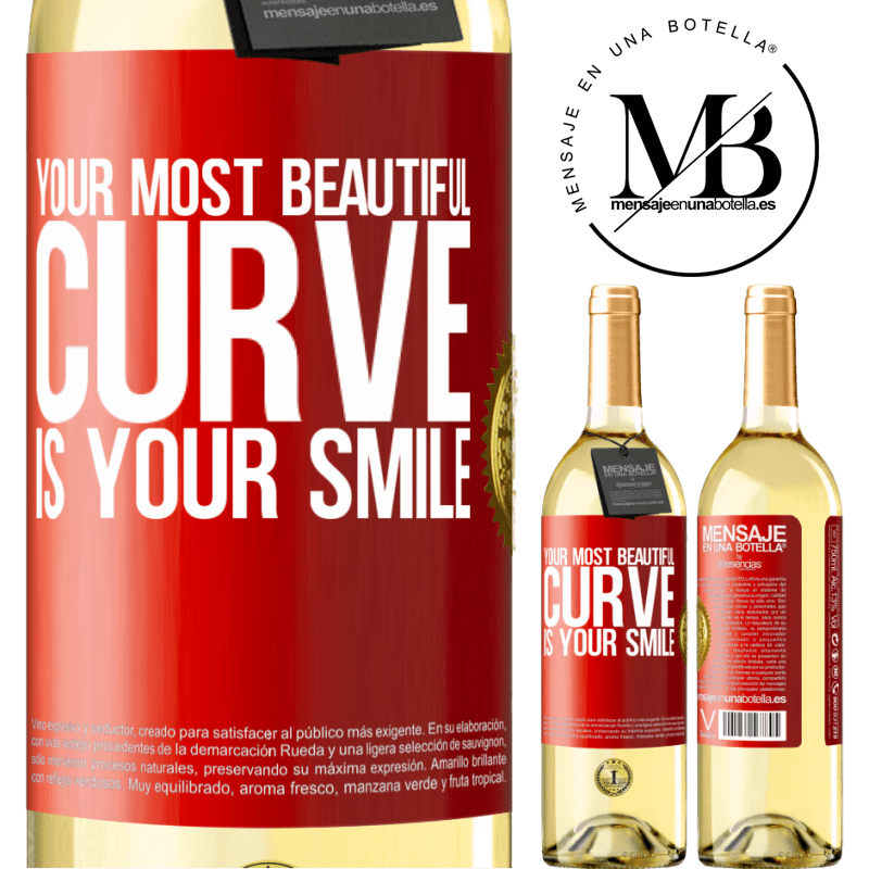 24,95 € Free Shipping | White Wine WHITE Edition Your most beautiful curve is your smile Red Label. Customizable label Young wine Harvest 2020 Verdejo