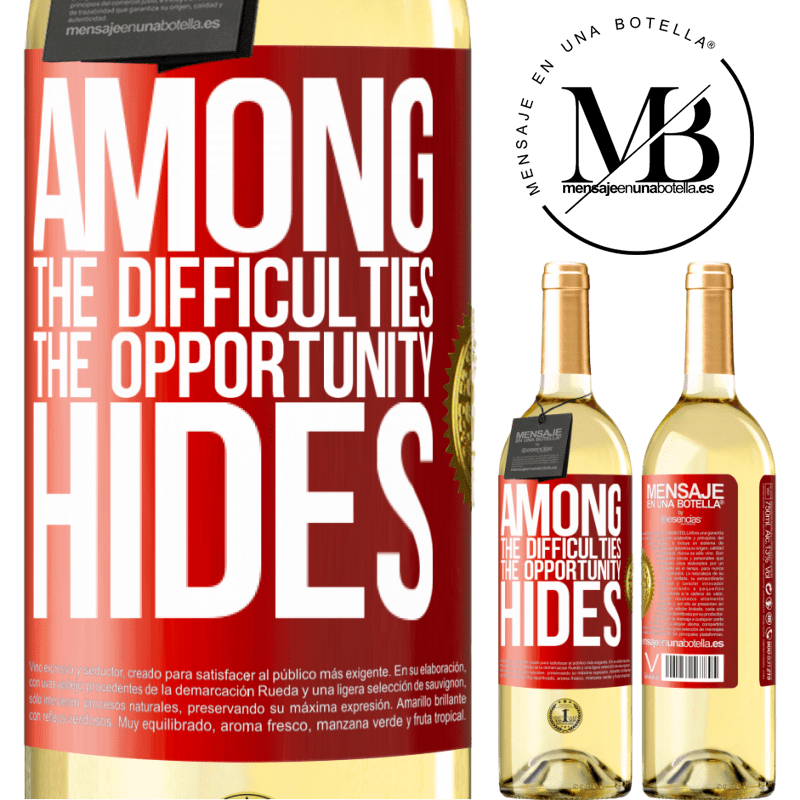 24,95 € Free Shipping | White Wine WHITE Edition Among the difficulties the opportunity hides Red Label. Customizable label Young wine Harvest 2020 Verdejo