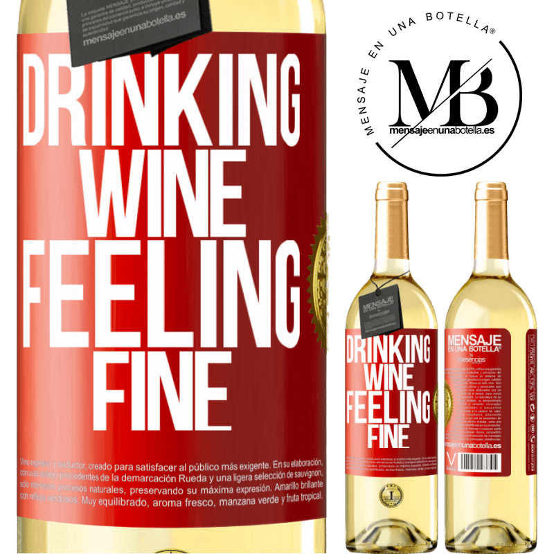 24,95 € Free Shipping | White Wine WHITE Edition Drinking wine, feeling fine Red Label. Customizable label Young wine Harvest 2020 Verdejo