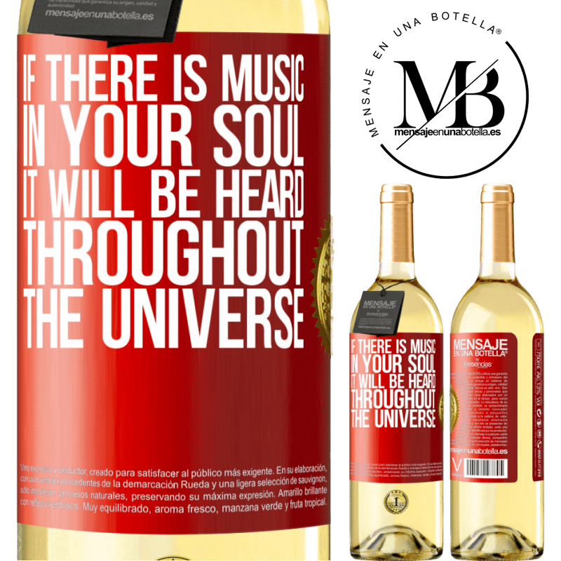 24,95 € Free Shipping | White Wine WHITE Edition If there is music in your soul, it will be heard throughout the universe Red Label. Customizable label Young wine Harvest 2020 Verdejo