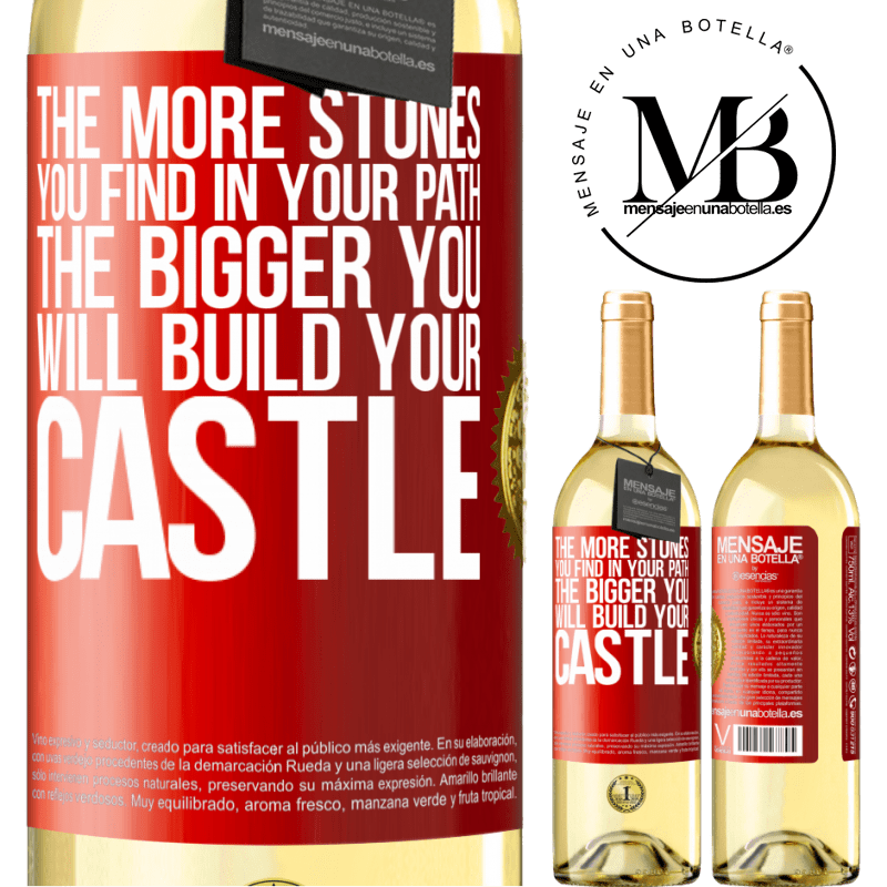 24,95 € Free Shipping | White Wine WHITE Edition The more stones you find in your path, the bigger you will build your castle Red Label. Customizable label Young wine Harvest 2020 Verdejo