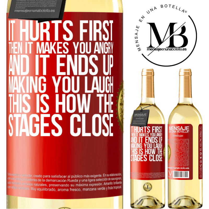 24,95 € Free Shipping   White Wine WHITE Edition It hurts first, then it makes you angry, and it ends up making you laugh. This is how the stages close Red Label. Customizable label Young wine Harvest 2020 Verdejo