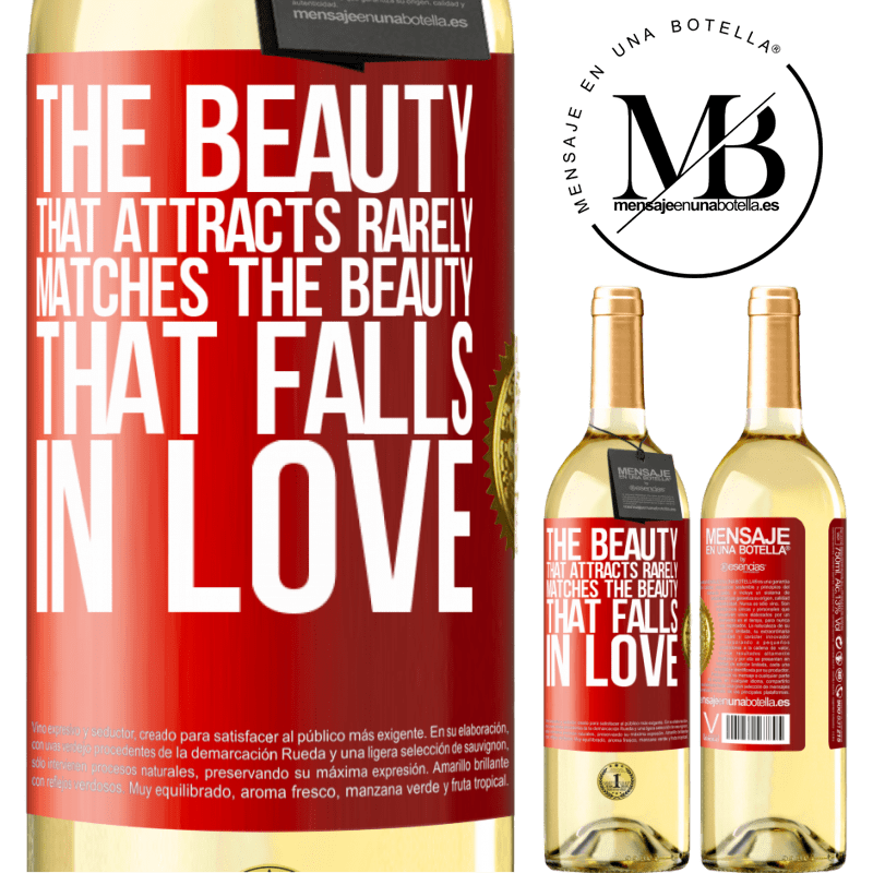 24,95 € Free Shipping | White Wine WHITE Edition The beauty that attracts rarely matches the beauty that falls in love Red Label. Customizable label Young wine Harvest 2020 Verdejo