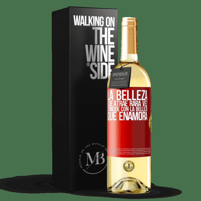 24,95 € Envoi gratuit | Vin blanc Édition WHITE La beauté qui attire correspond rarement à la beauté qui tombe amoureuse Étiquette Rouge. Étiquette personnalisable Vin jeune Récolte 2020 Verdejo