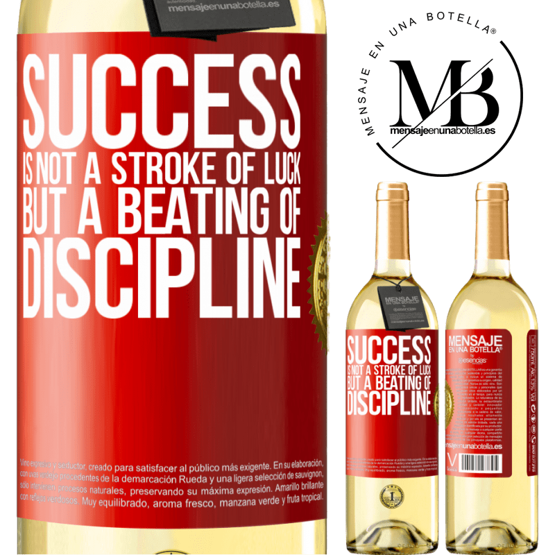 24,95 € Free Shipping | White Wine WHITE Edition Success is not a stroke of luck, but a beating of discipline Red Label. Customizable label Young wine Harvest 2020 Verdejo