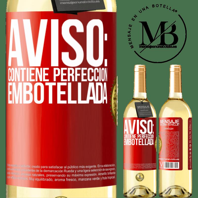 24,95 € Envío gratis | Vino Blanco Edición WHITE Aviso: contiene perfección embotellada Etiqueta Roja. Etiqueta personalizable Vino joven Cosecha 2020 Verdejo