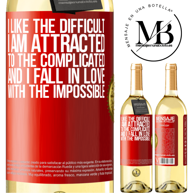 24,95 € Free Shipping   White Wine WHITE Edition I like the difficult, I am attracted to the complicated, and I fall in love with the impossible Red Label. Customizable label Young wine Harvest 2020 Verdejo
