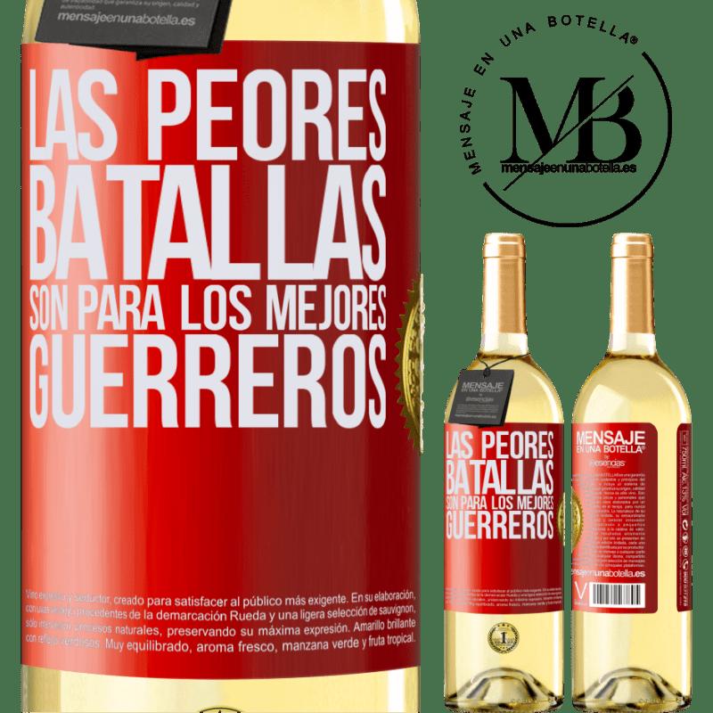 24,95 € Envío gratis | Vino Blanco Edición WHITE Las peores batallas son para los mejores guerreros Etiqueta Roja. Etiqueta personalizable Vino joven Cosecha 2020 Verdejo