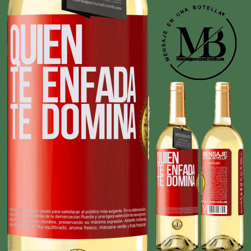 24,95 € Envoi gratuit | Vin blanc Édition WHITE Qui te met en colère te domine Étiquette Rouge. Étiquette personnalisable Vin jeune Récolte 2020 Verdejo