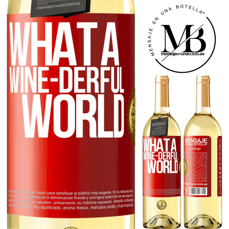 24,95 € Free Shipping | White Wine WHITE Edition What a wine-derful world Red Label. Customizable label Young wine Harvest 2020 Verdejo