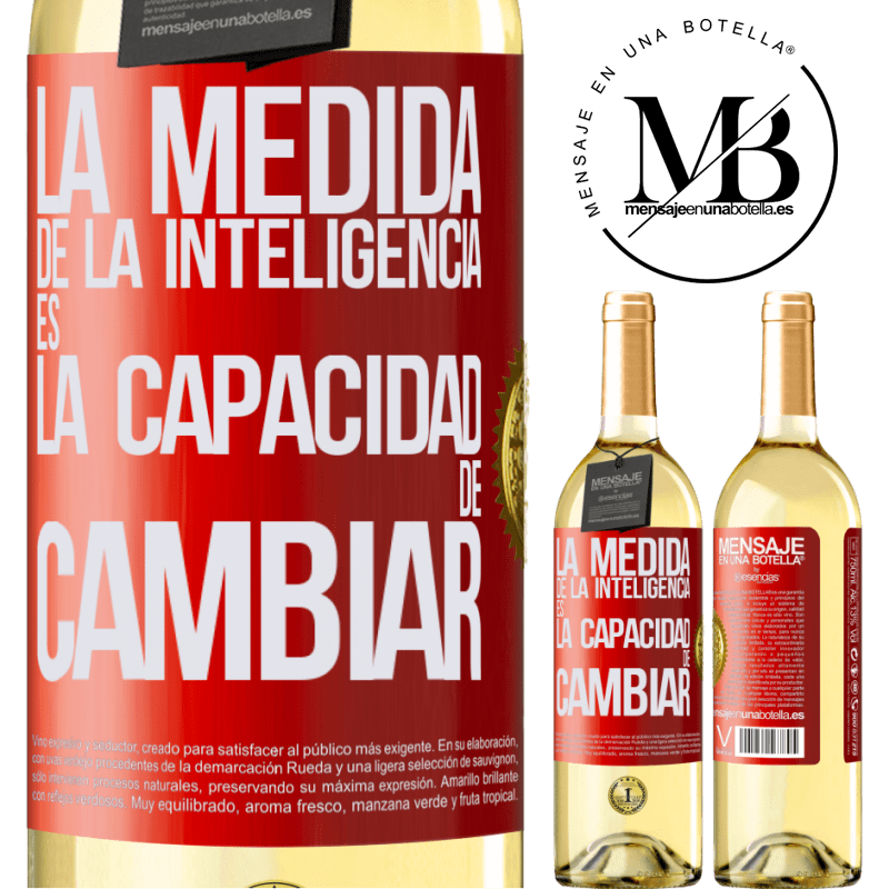 24,95 € Envío gratis   Vino Blanco Edición WHITE La medida de la inteligencia es la capacidad de cambiar Etiqueta Roja. Etiqueta personalizable Vino joven Cosecha 2020 Verdejo