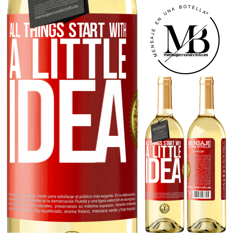 24,95 € Free Shipping   White Wine WHITE Edition It all starts with a little idea Red Label. Customizable label Young wine Harvest 2020 Verdejo