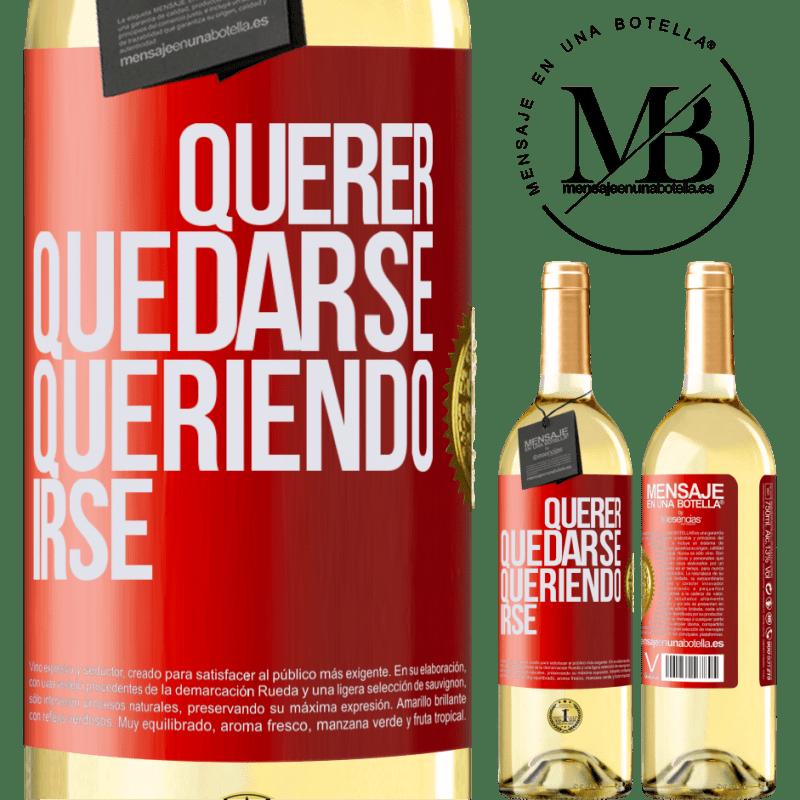 24,95 € Envío gratis | Vino Blanco Edición WHITE Querer quedarse queriendo irse Etiqueta Roja. Etiqueta personalizable Vino joven Cosecha 2020 Verdejo