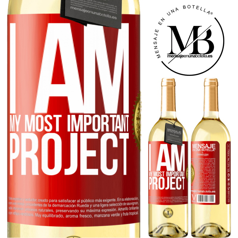 24,95 € Free Shipping | White Wine WHITE Edition I am my most important project Red Label. Customizable label Young wine Harvest 2020 Verdejo