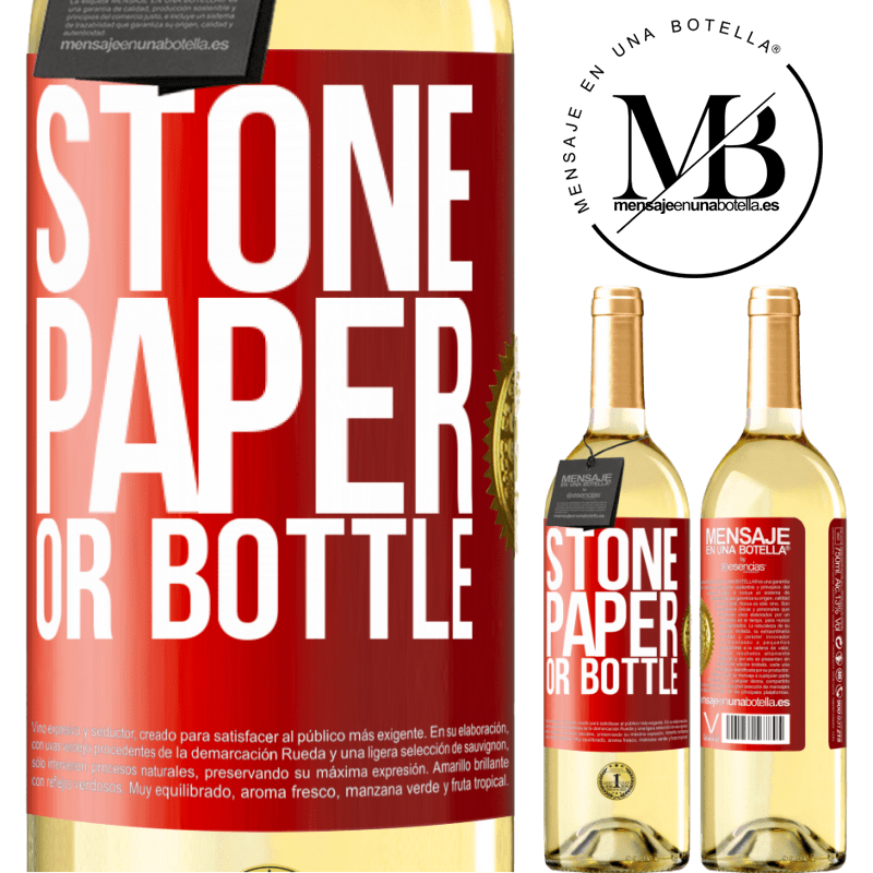 24,95 € Free Shipping | White Wine WHITE Edition Stone, paper or bottle Red Label. Customizable label Young wine Harvest 2020 Verdejo