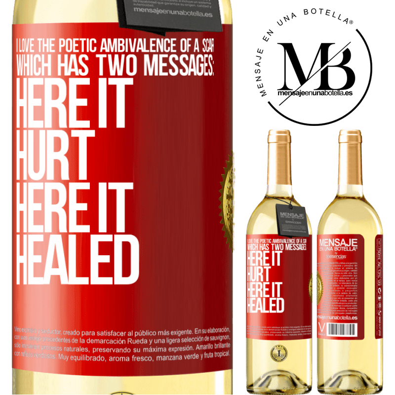 24,95 € Free Shipping | White Wine WHITE Edition I love the poetic ambivalence of a scar, which has two messages: here it hurt, here it healed Red Label. Customizable label Young wine Harvest 2020 Verdejo