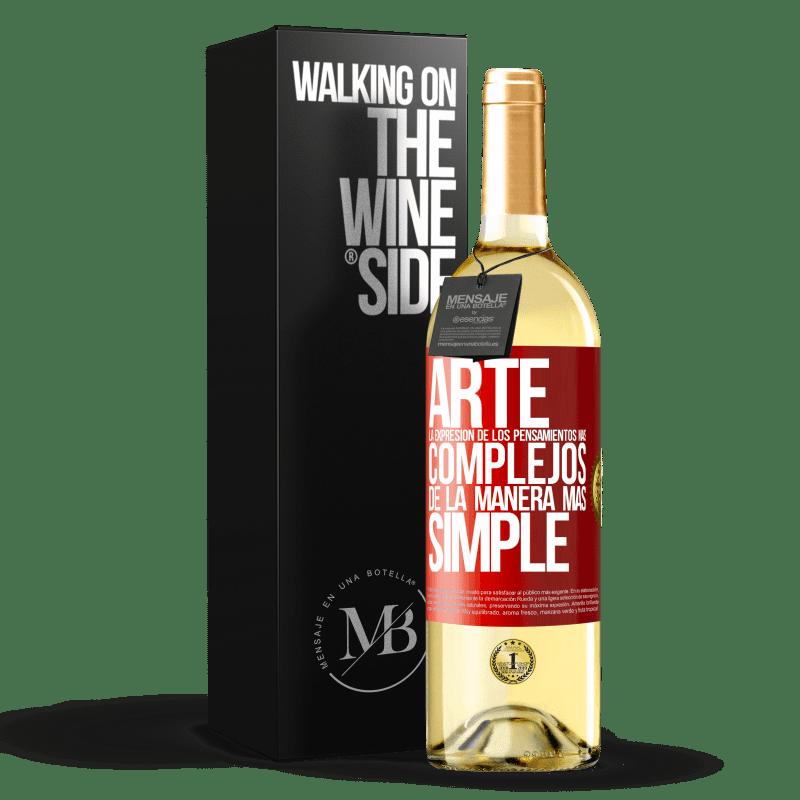 24,95 € Envoi gratuit | Vin blanc Édition WHITE ART L'expression des pensées les plus complexes de la manière la plus simple Étiquette Rouge. Étiquette personnalisable Vin jeune Récolte 2020 Verdejo