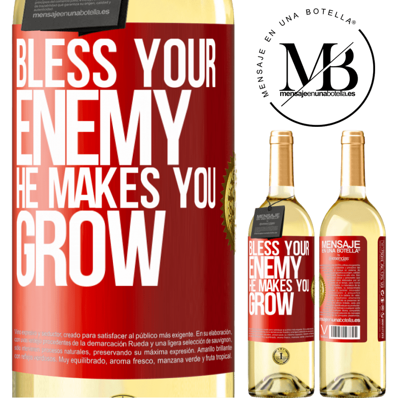 24,95 € Free Shipping | White Wine WHITE Edition Bless your enemy. He makes you grow Red Label. Customizable label Young wine Harvest 2020 Verdejo