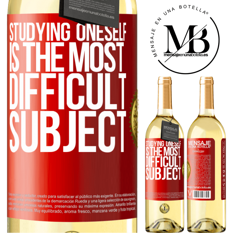 24,95 € Free Shipping | White Wine WHITE Edition Studying oneself is the most difficult subject Red Label. Customizable label Young wine Harvest 2020 Verdejo