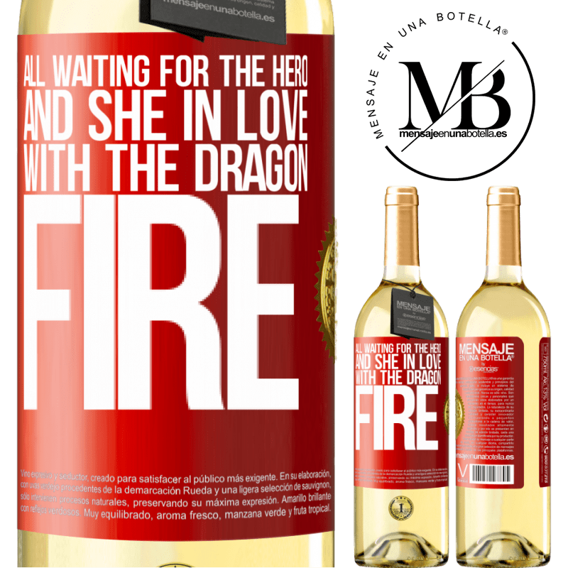 24,95 € Free Shipping | White Wine WHITE Edition All waiting for the hero and she in love with the dragon fire Red Label. Customizable label Young wine Harvest 2020 Verdejo