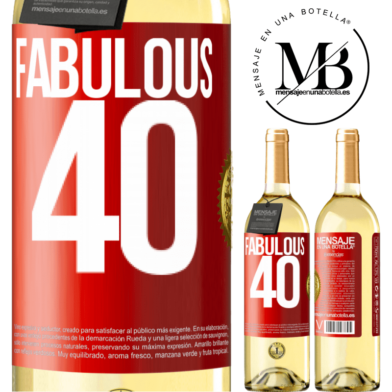 24,95 € Free Shipping   White Wine WHITE Edition Fabulous 40 Red Label. Customizable label Young wine Harvest 2020 Verdejo