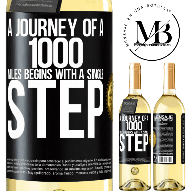 24,95 € Free Shipping   White Wine WHITE Edition A journey of a thousand miles begins with a single step Black Label. Customizable label Young wine Harvest 2020 Verdejo
