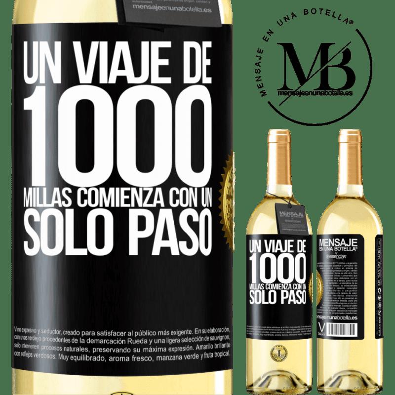 24,95 € Envío gratis | Vino Blanco Edición WHITE Un viaje de mil millas comienza con un solo paso Etiqueta Negra. Etiqueta personalizable Vino joven Cosecha 2020 Verdejo