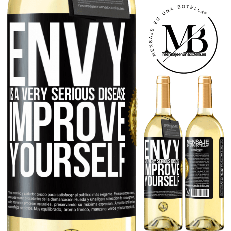 24,95 € Free Shipping | White Wine WHITE Edition Envy is a very serious disease, improve yourself Black Label. Customizable label Young wine Harvest 2020 Verdejo